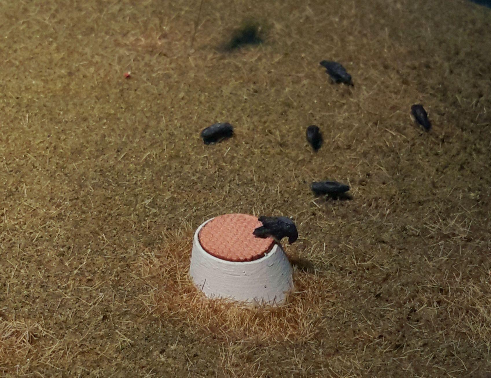 Gestaltungsbeispiel - Diorama mit Schachthals H0 und Raben