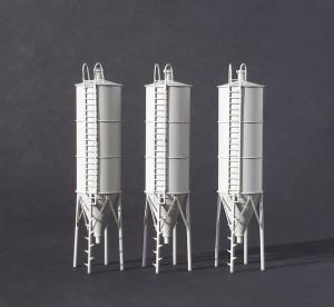 Baustoff- und Futtersilo 1:120 TT - Set mit 3 Stk.