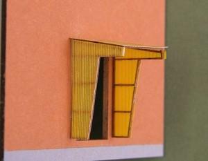 Modell eines Windfangs für Haustüren - belegt mit Wellpolyester-Platten